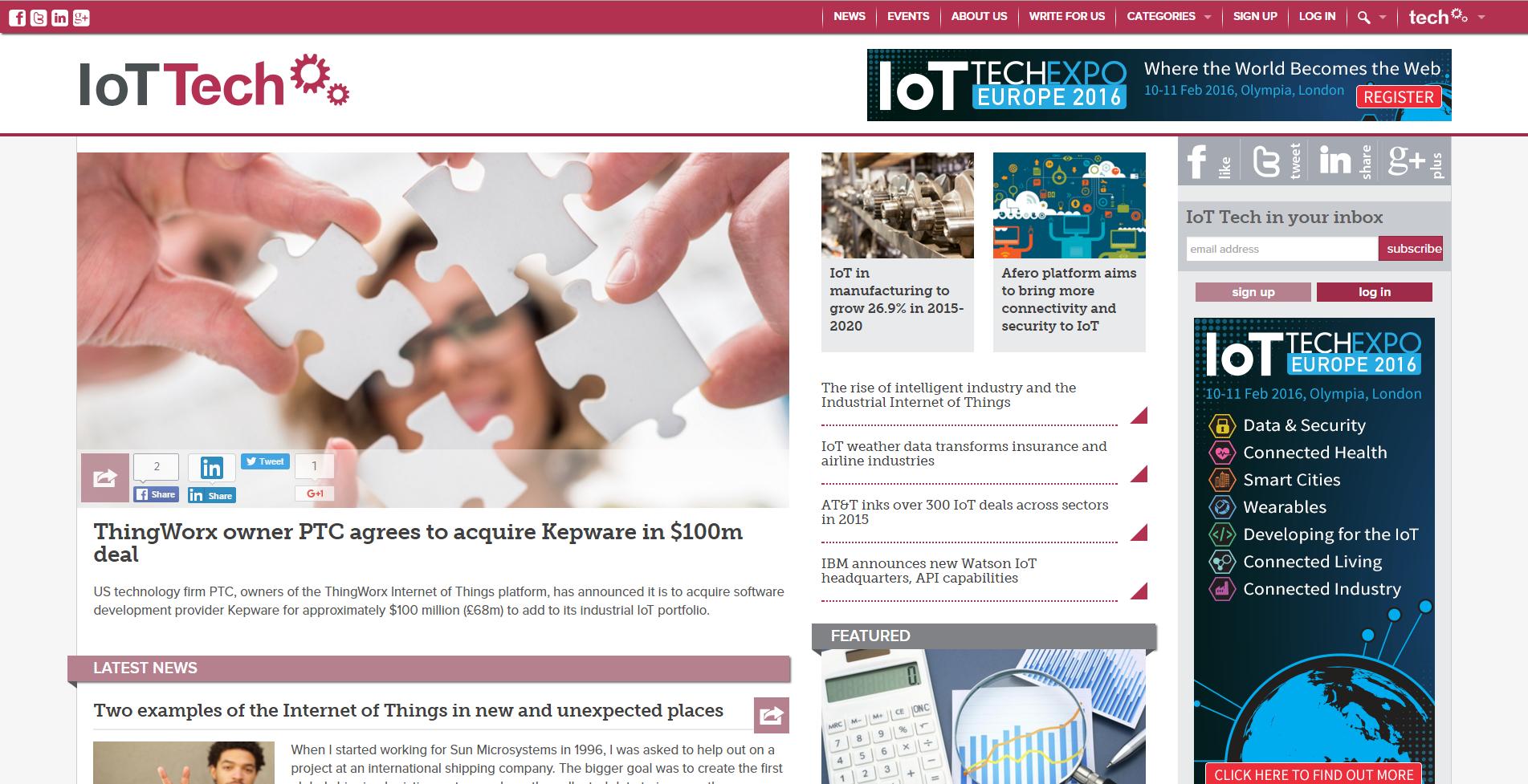 IoT news screenshot